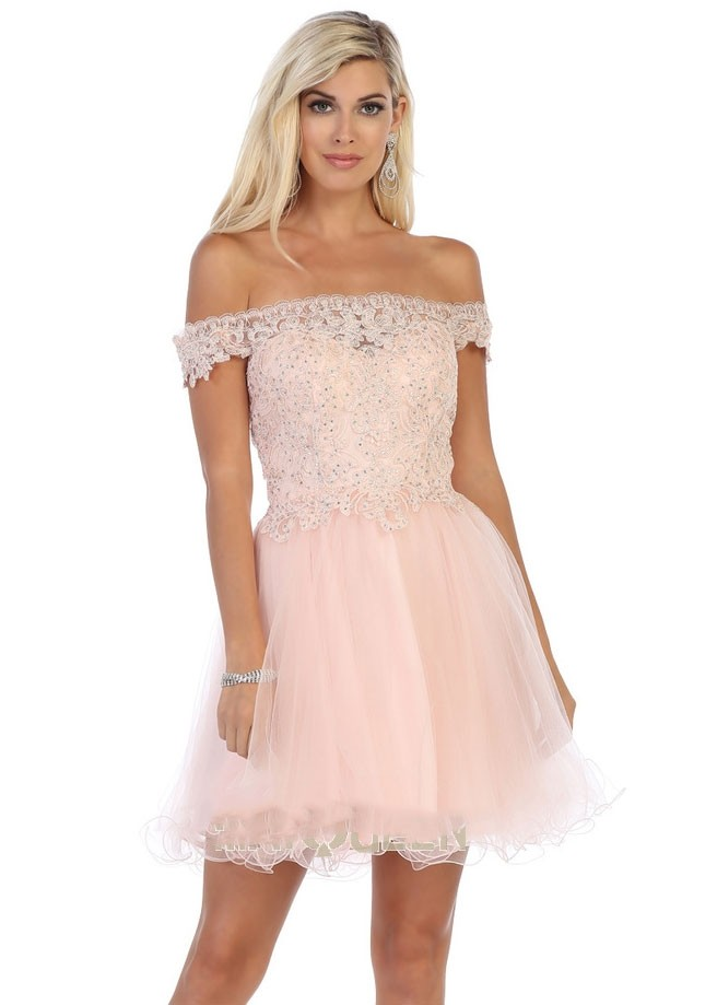 Off the Shoulder Lace Party Dress