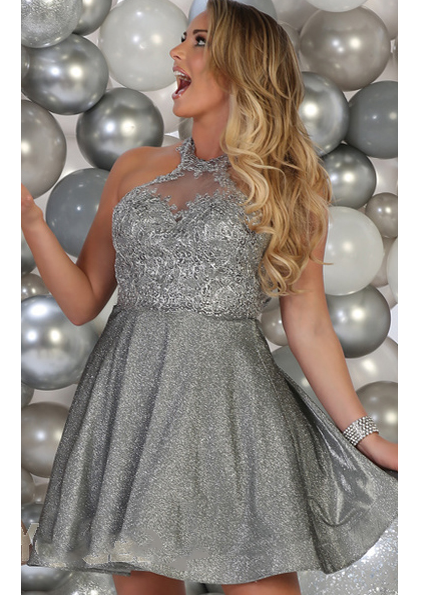Metallic Lace A-Line Halter Dress
