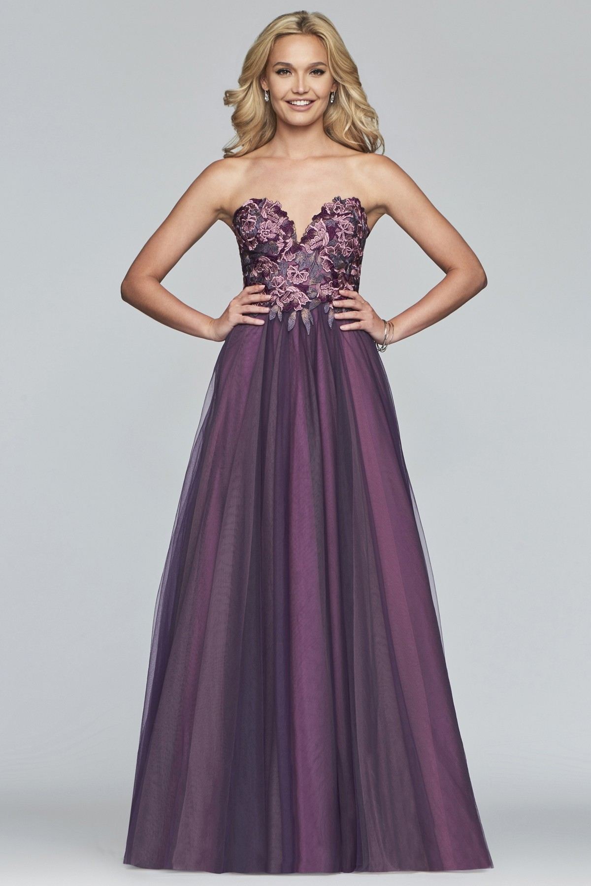 Faviana S10023 Strapless Flower Adorned Ball Gown