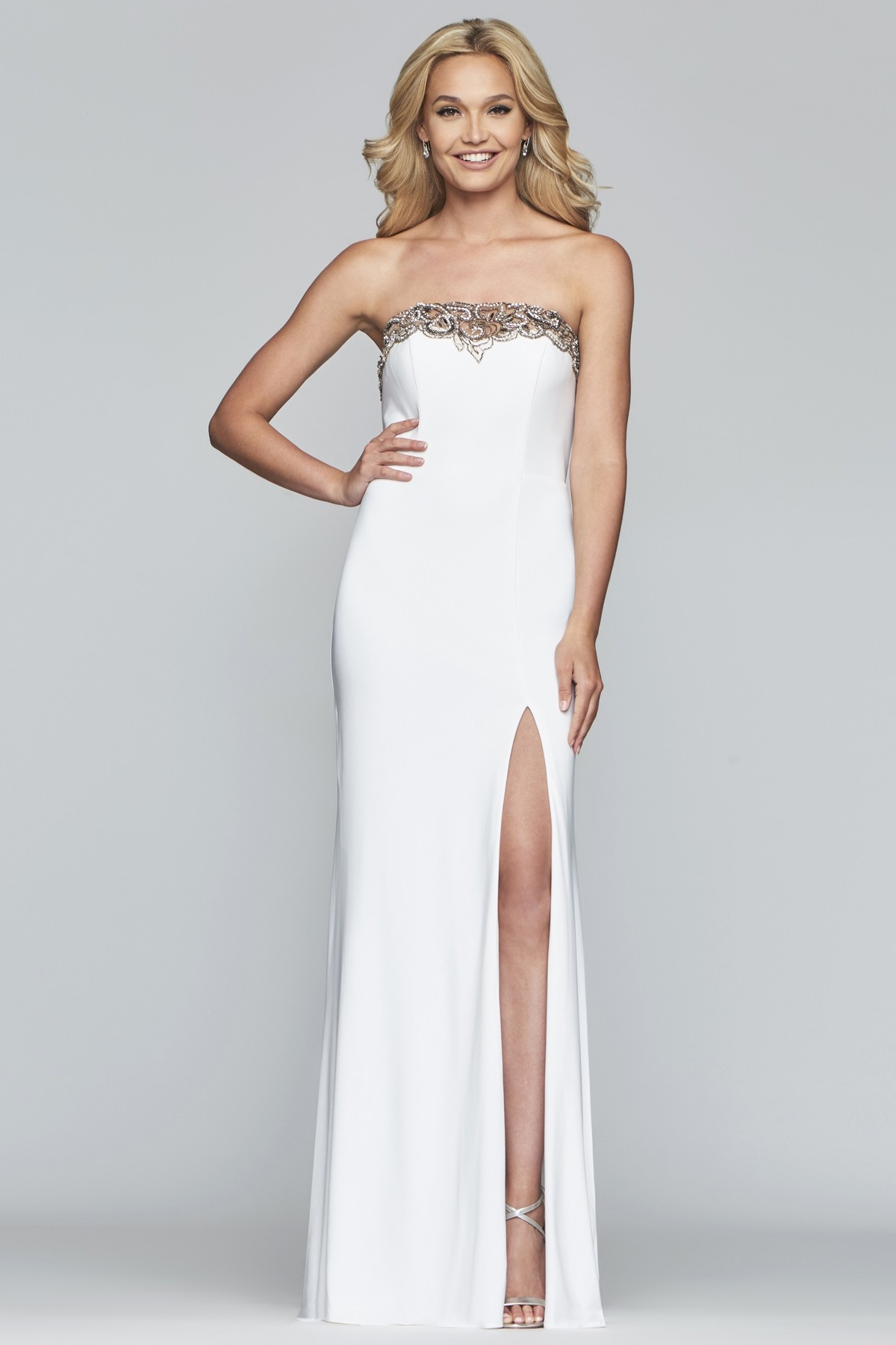 Faviana S10200 Strapless Jersey Gown with Slit