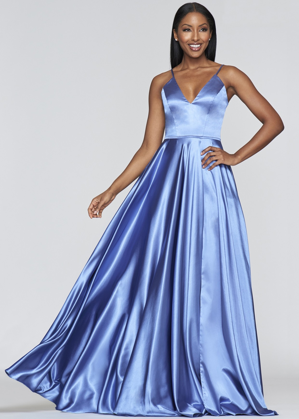 Faviana S10209 Long V-Neck Charmeuse Dress