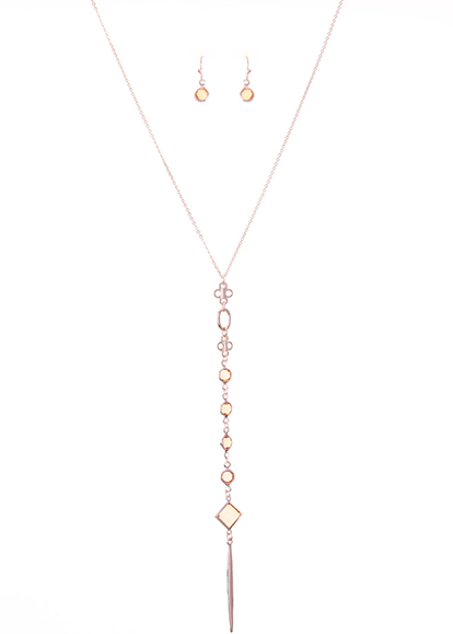 Peach Urban Lightweight Y Long Necklace
