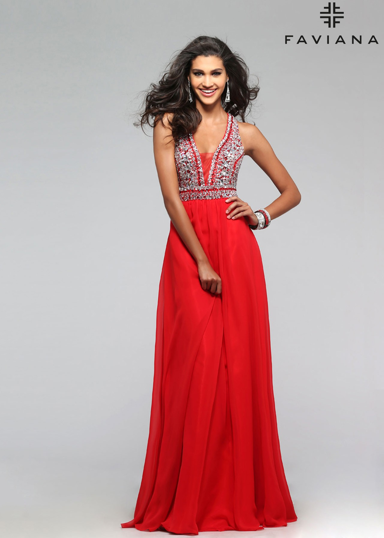 Faviana S7500 Elegant Beaded V-Neck A-Line Chiffon Dress