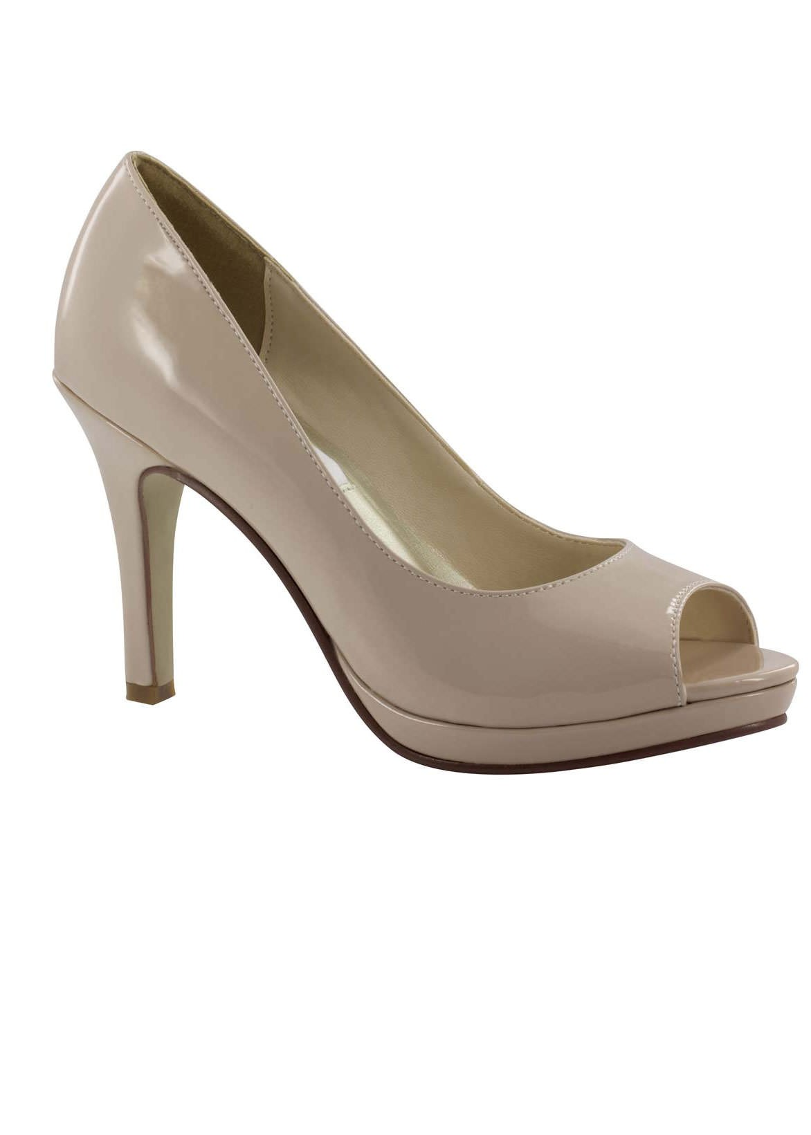 Sari by Dyeables Nude Patent Peep Toe Pumps