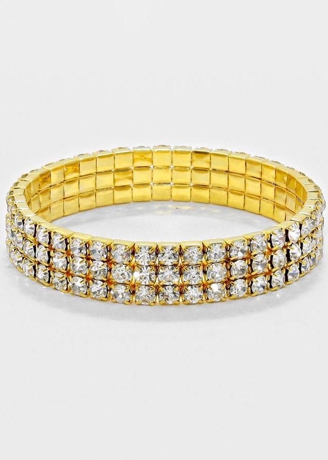 Gold 3-Row Rhinestone Stretch Bracelet