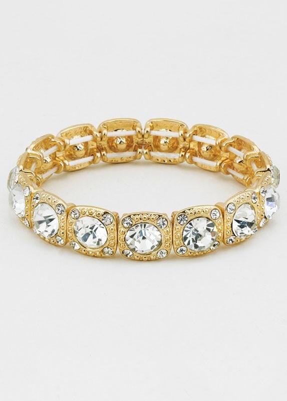 Gold Crystal Rhinestone Stretch Bracelet