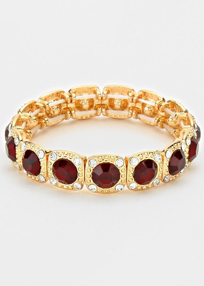 Siam Gold Crystal Rhinestone Stretch Bracelet