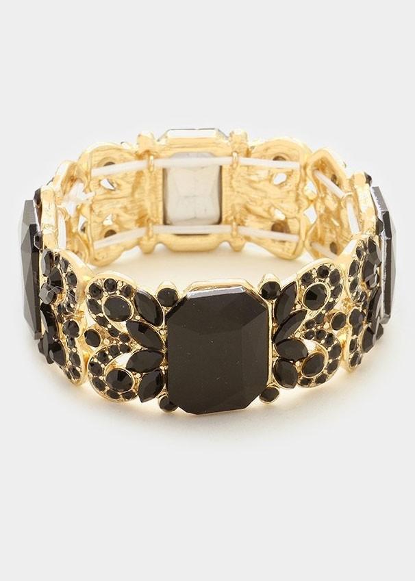 Black & Gold Crystal Stretch Bracelet