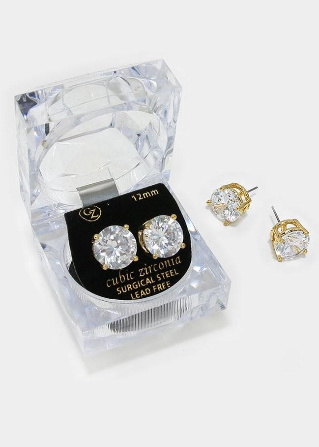 12 mm Round Cut Crystal Cubic Zirconia CZ Stud Earrings