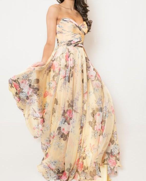 Sherri Hill 52872 Chiffon Floral Print Gown