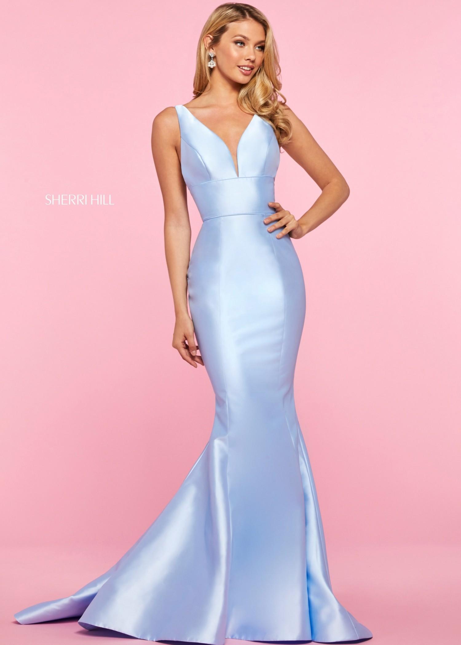 Sherri Hill 53660 Light Blue Mikado Mermaid Gown Size 4
