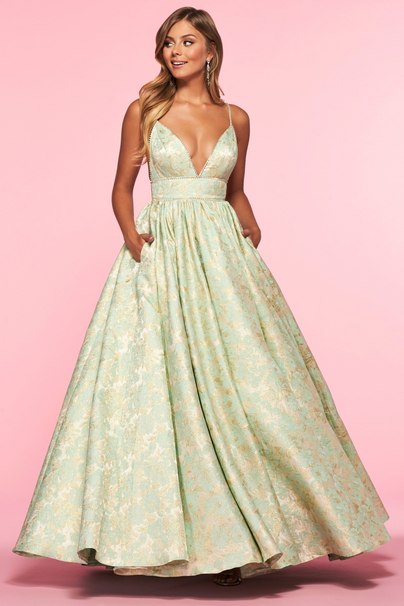 Alisha Hill 80010 Metallic Printed Ball Gown