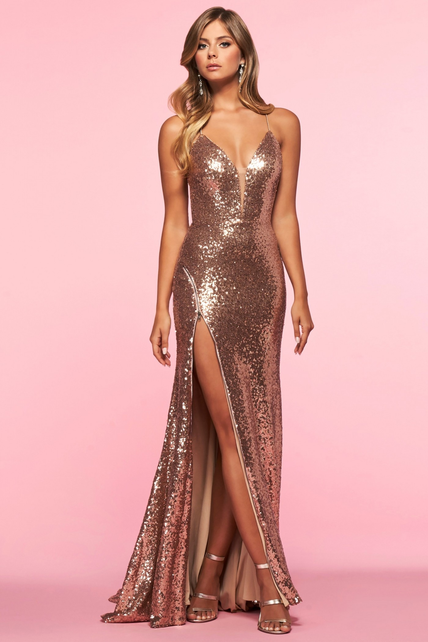 Alisha Hill 80045 Sequin Gown with Zipper Slit