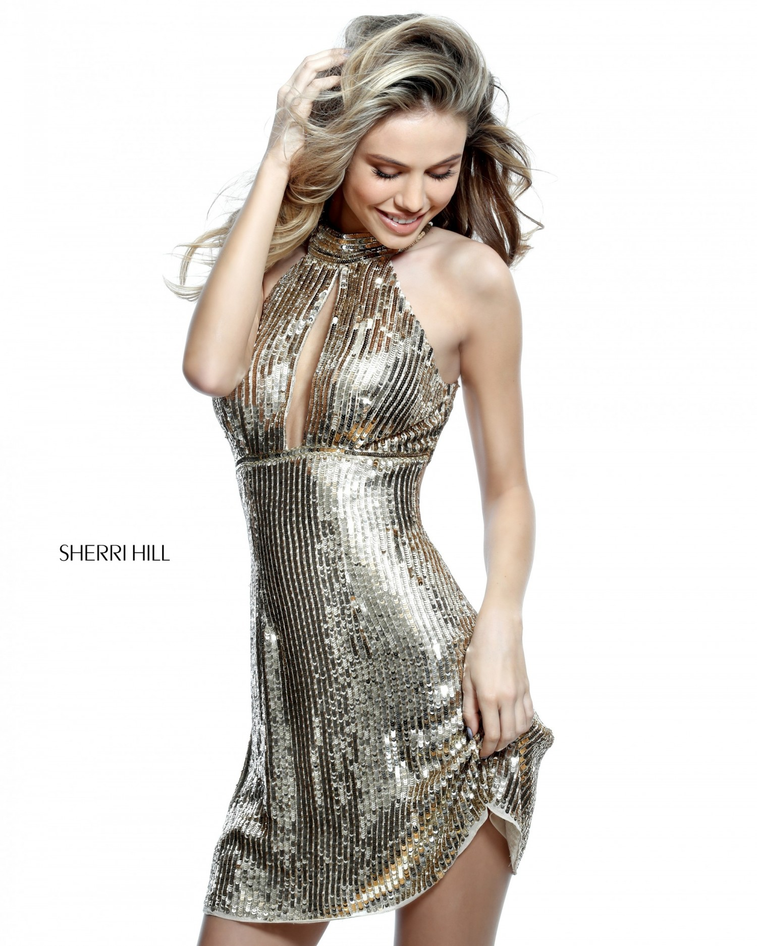 Sherri Hill 51354 Short Sequin Halter Dress