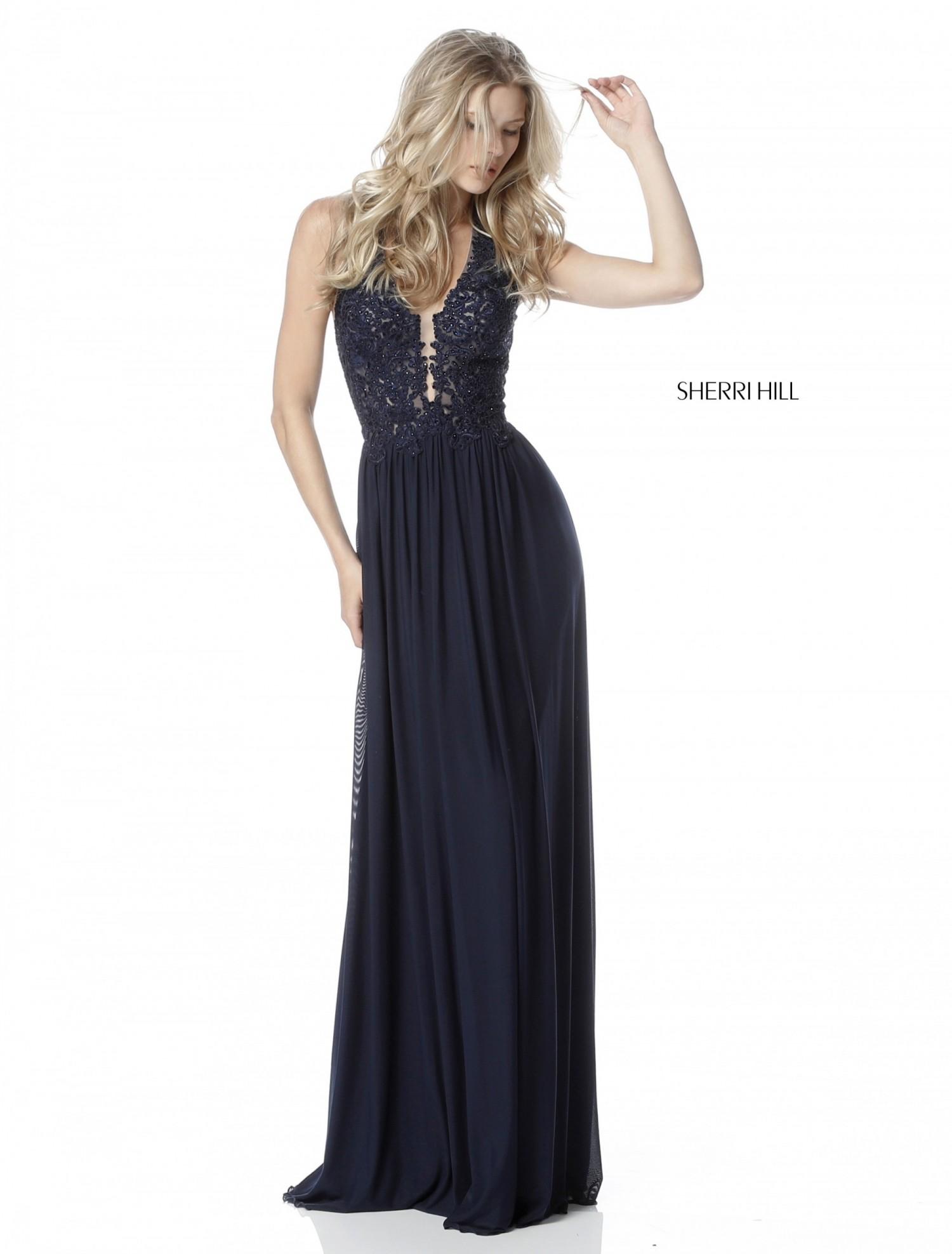 Sherri Hill 51553 Beaded Lace & Mesh Sheath Dress