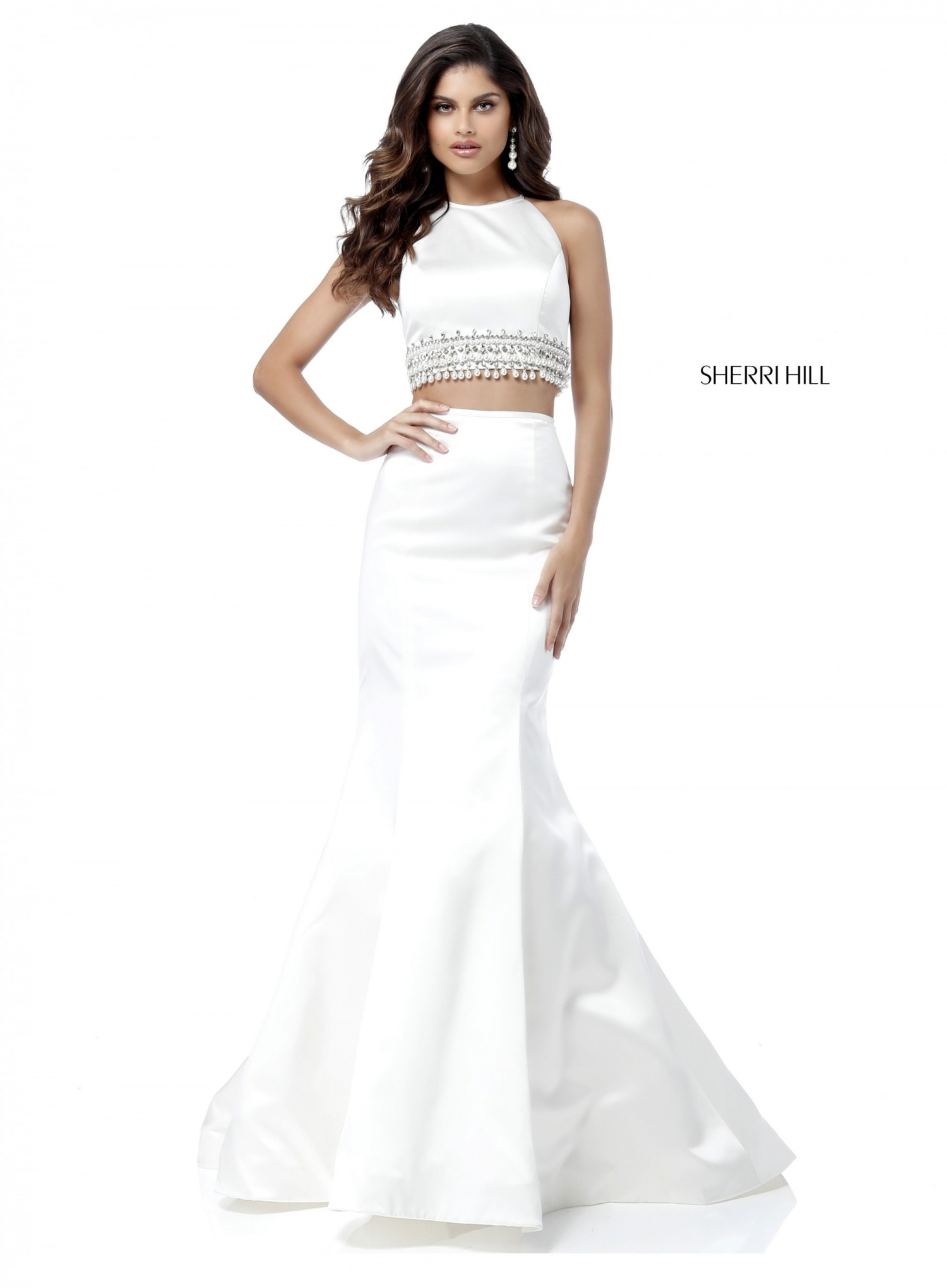 Sherri Hill 51581 Pearl Accented Satin Two Piece Gown