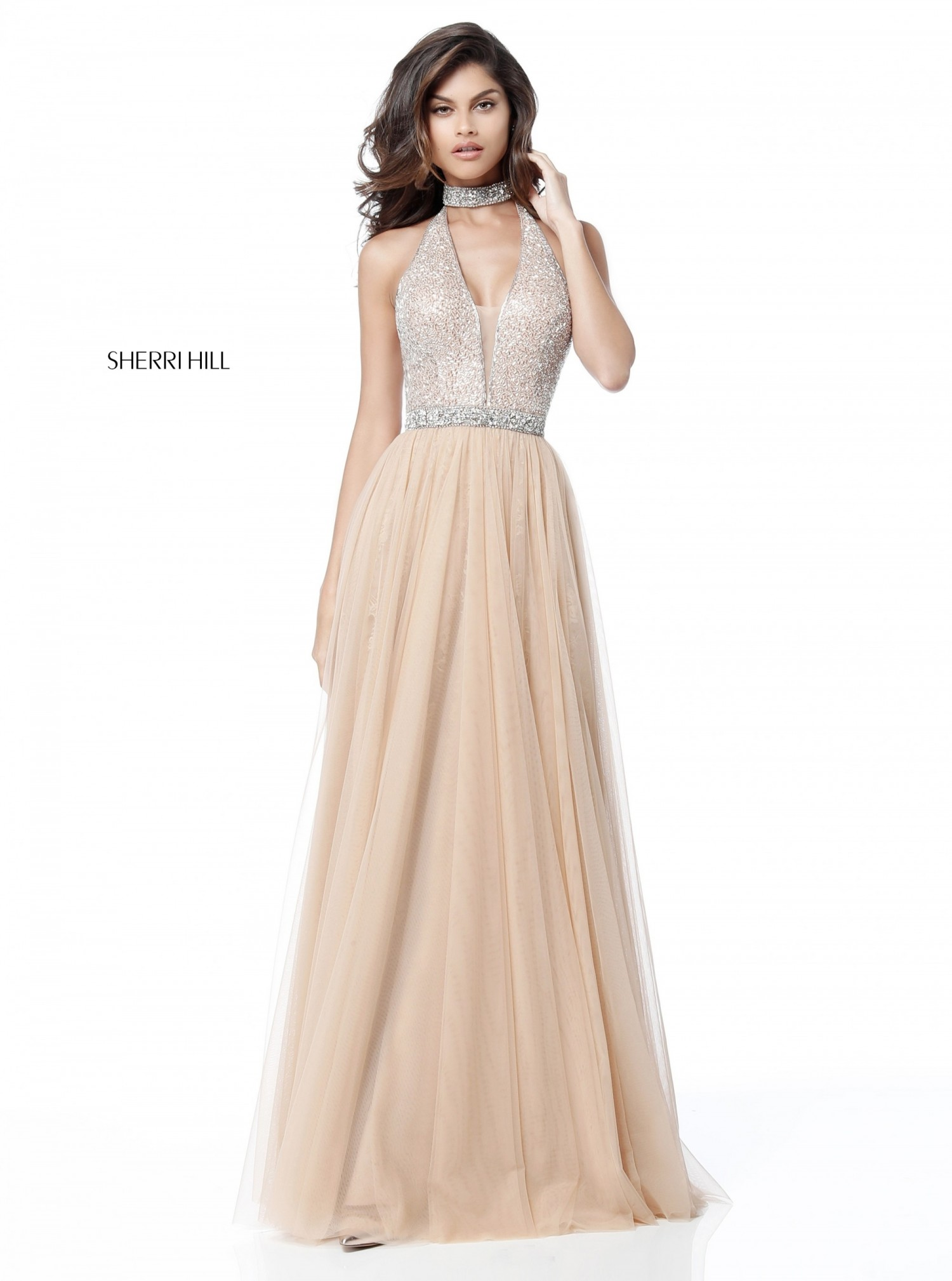 Sherri Hill 51637 Jeweled Choker Plunge Neck Halter Gown