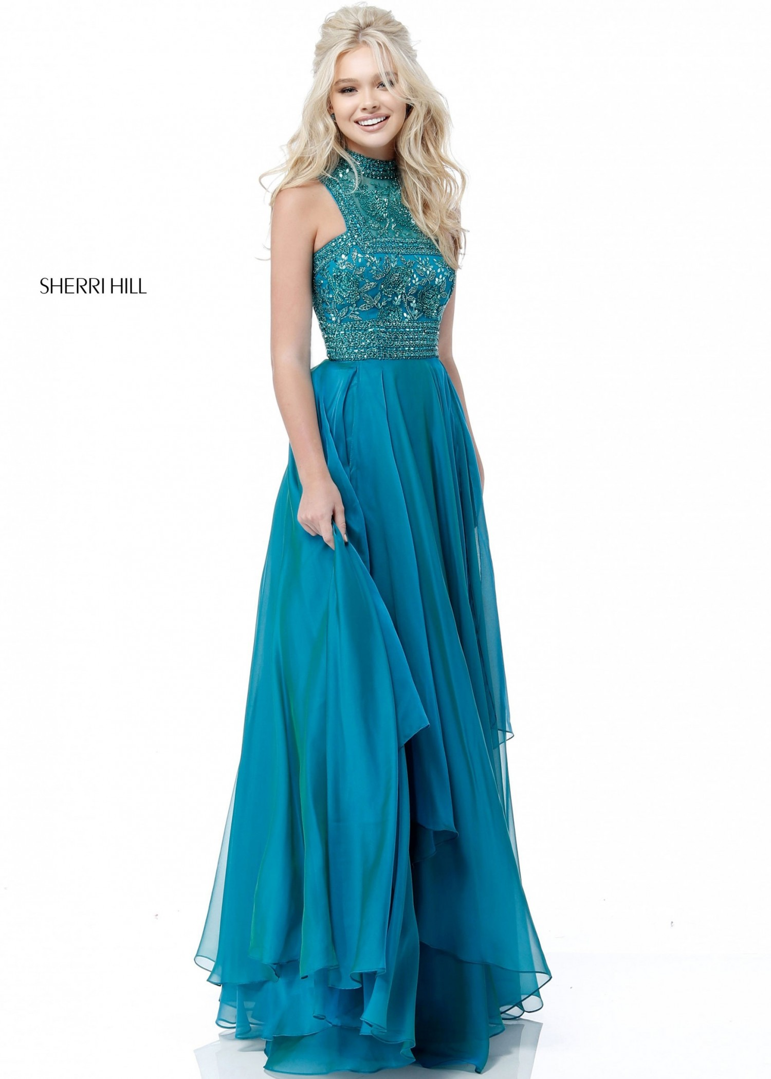 Sherri Hill 51722 Beaded High Neck Chiffon Gown