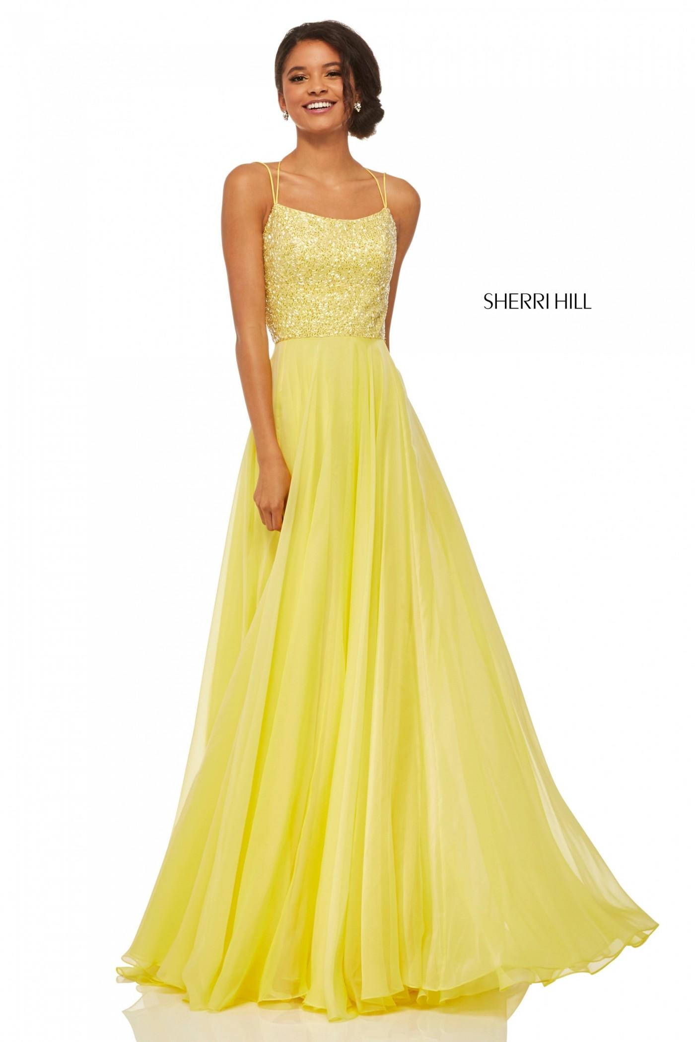 Sherri Hill 52591 Yellow Beaded Lace Up Back Chiffon Gown