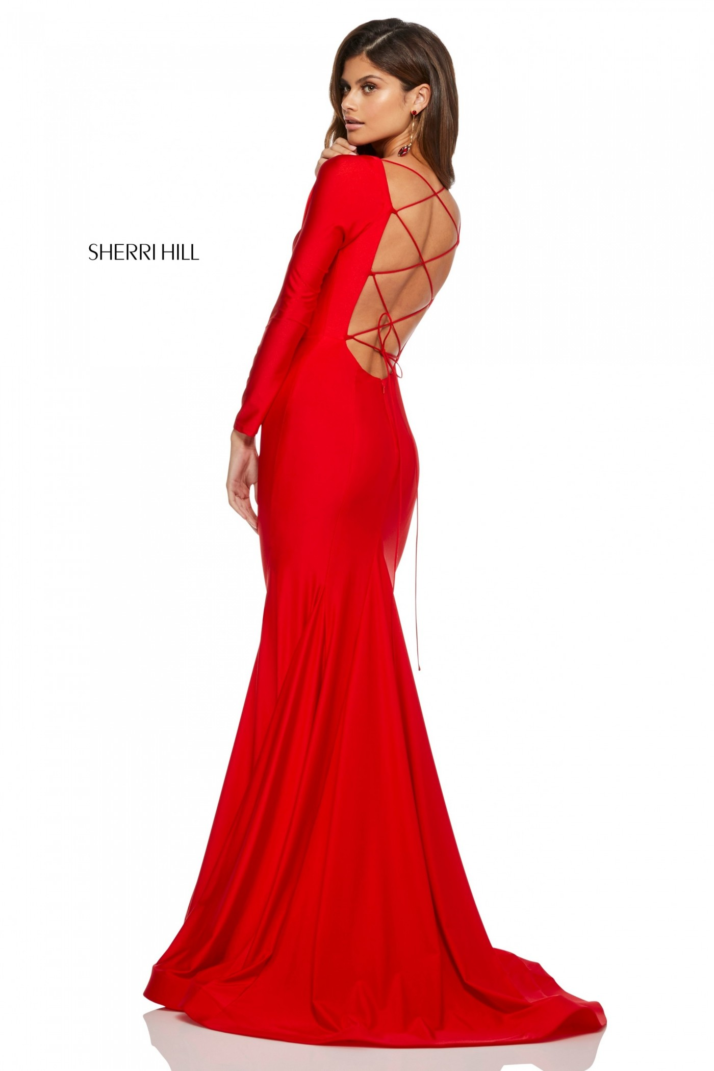 Sherri Hill 52785 Long Sleeve Gown with Lace Up Back