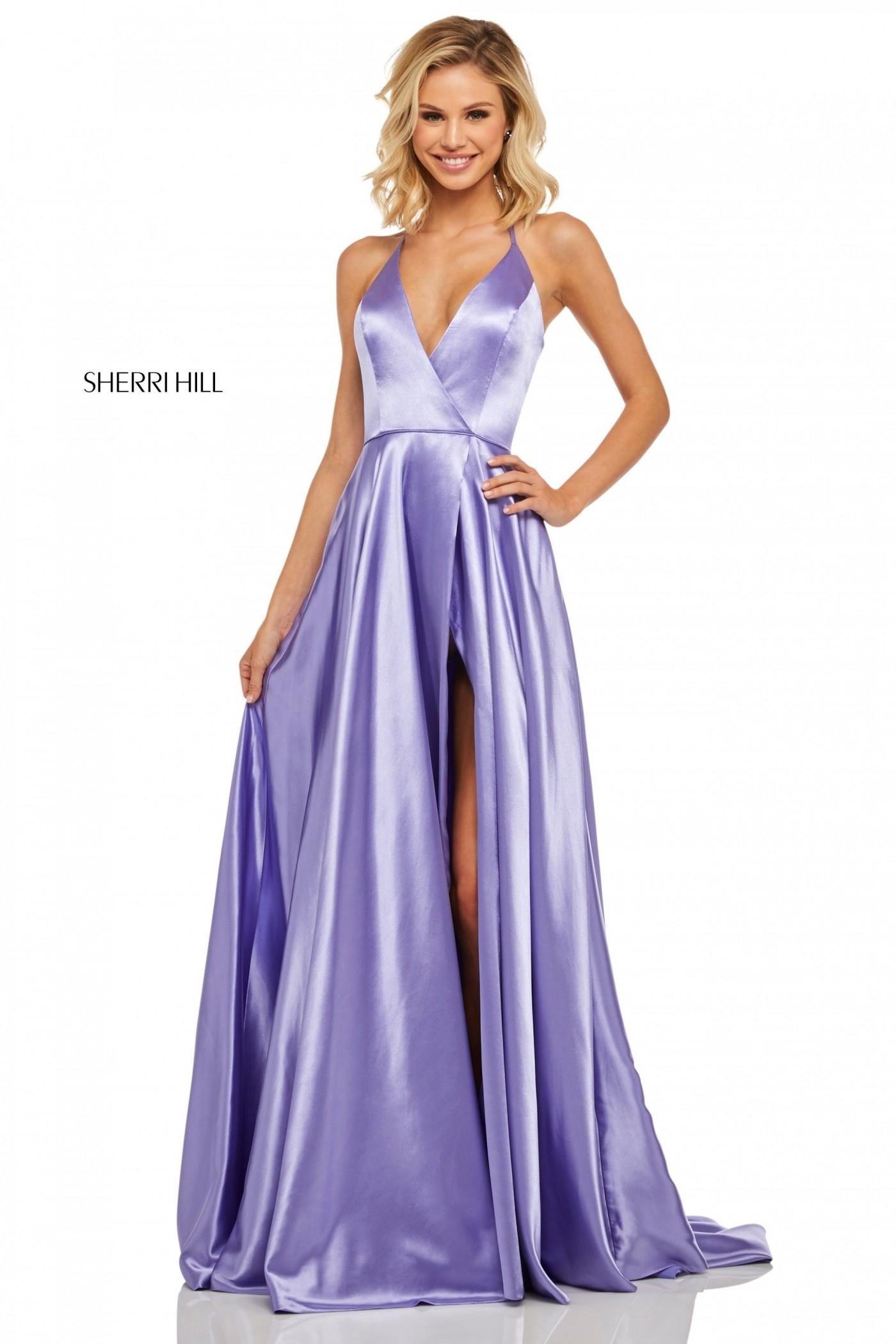 Sherri Hill 52921 Satin V-Neck Halter Top Gown