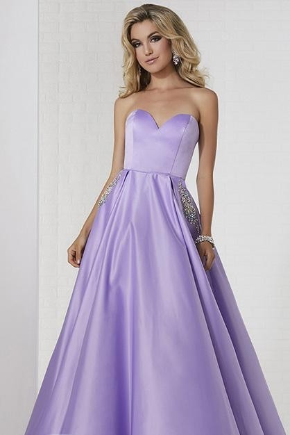 Tiffany Exclusive 46120 Satin Gown with Jeweled Pockets