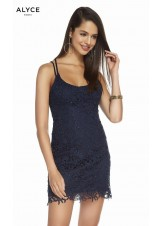 Alyce 1473 Scoop Neck Short Lace Dress