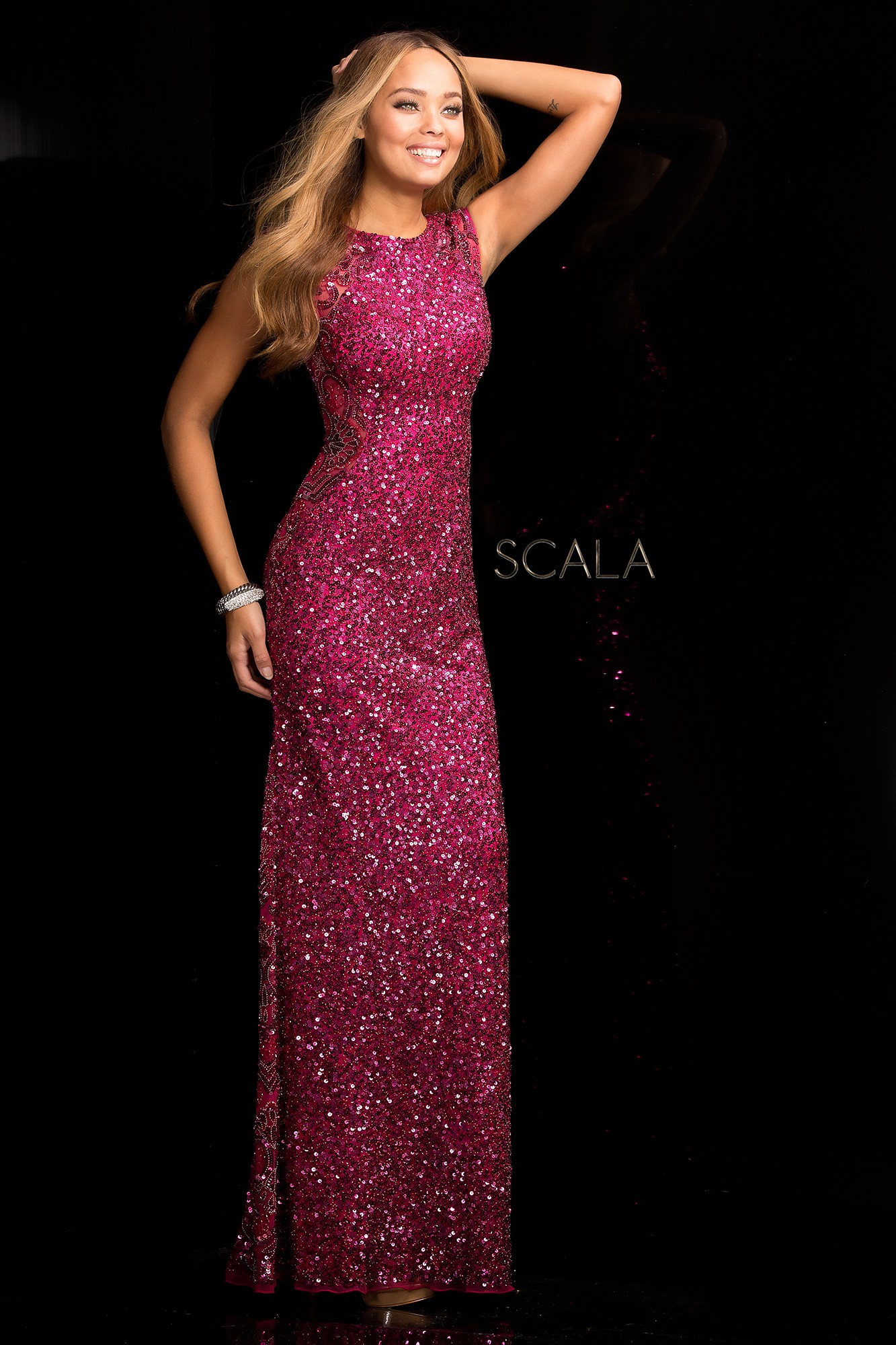scala 48467 long beaded sequin evening dress rissyrooscom