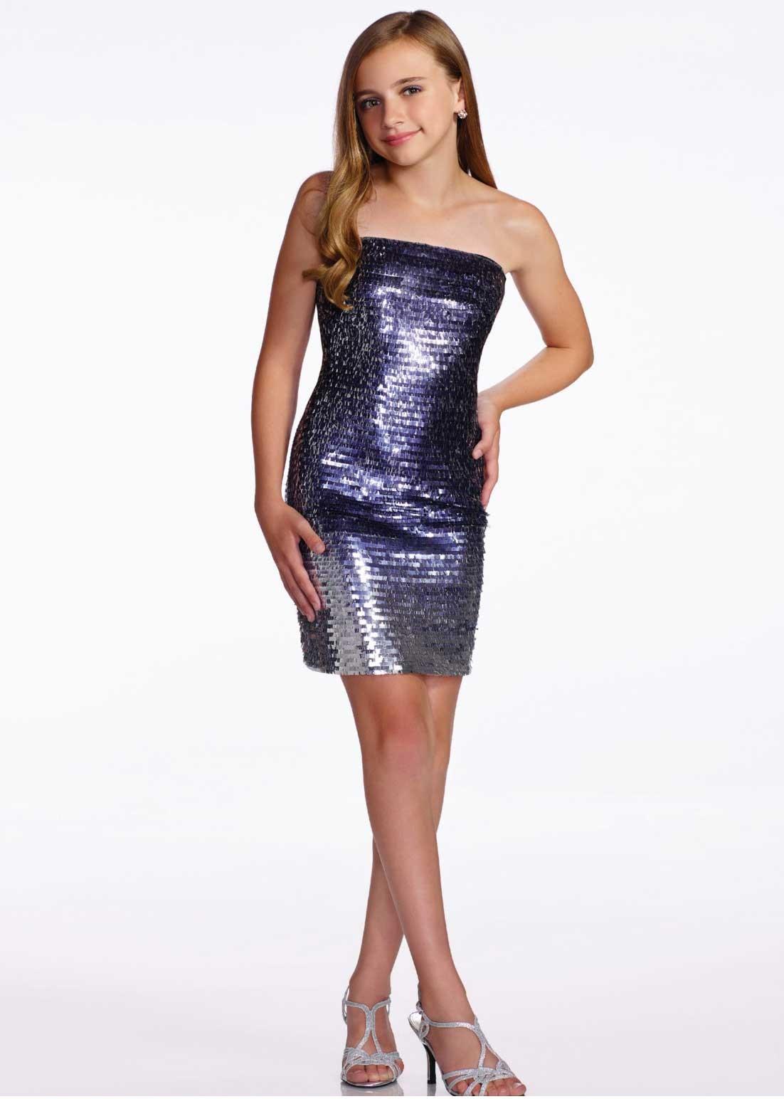 Lexie By Mon Cheri Tw11658 Girls Ombre Sequin Short Dress