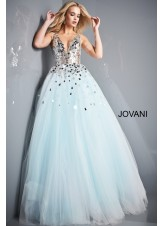 Jovani 00007 Light Blue Cut Glass Bodice Ball Gown