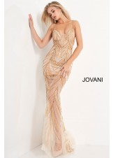 Jovani 00613 Plunge Neck Beaded Mesh Prom Dress