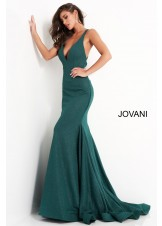 Jovani 00698 Criss Cross Back V-Neck Gown