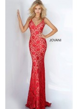 Jovani 00782 Backless Lace Prom Dress