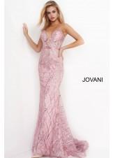 Jovani 02245 Pink Beaded Prom Dress