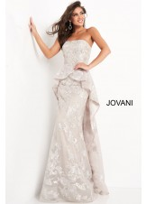 Jovani 02966 Strapless Silver Floral Peplum Gown