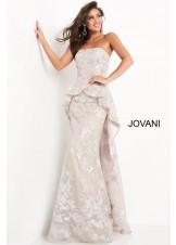 Jovani 02966 Strapless Silver Floral Peplum Gown