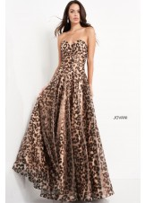 Jovani 04697 Metallic Animal Print Evening Dress