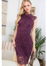 Mock Neck Lace Crochet Dress