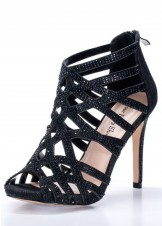 Your Party Shoes Pandora Black Jeweled Heels