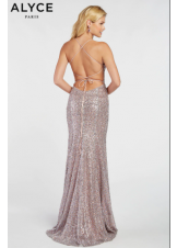 Alyce 1387 Sequin Gown with Lace-Up Back