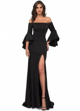 Cecilia Couture 1426 Black Bell Sleeve Gown Size 26