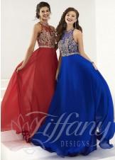 Tiffany Designs 16166 Regal A-Line Silky Chiffon Gown