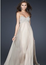 La Femme 17474 Lovely Strapless Empire Chiffon Gown