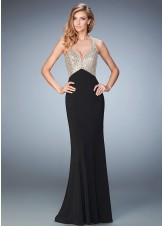 La Femme 22189 Shimmering Lattice Beaded Racerback Prom Dress
