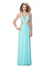 La Femme 22252 Alluring Side Cut Out Ruched Net Prom Dress