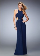 La Femme 22292 Statuesque Ruched Jeweled Halter Prom Gown