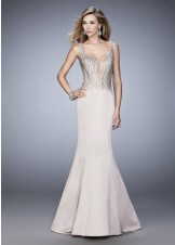 La Femme 22365 Glamorous Deep Plunging Fit & Flare Gown