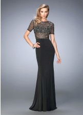 Gigi 22647 Beaded Sheer Evening Gown