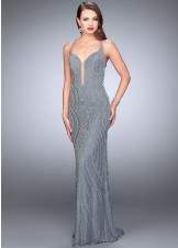 La Femme 24244 Glamorous Plunge Beaded Gown