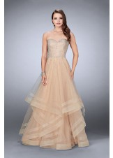 La Femme 24517 Jeweled Strapless Tulle Ruffle Gown
